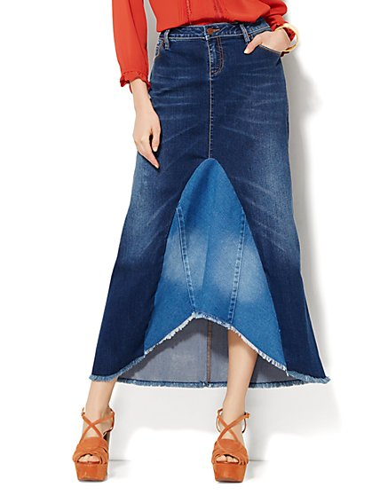 Soho Jeans - Patchwork Denim Skirt  - New York & Company