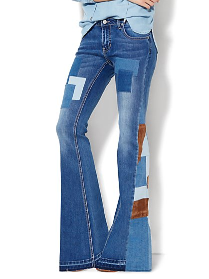 Soho Jeans - Patchwork Flare - Released Hem  - New York & Company