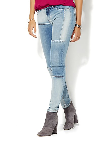 Soho Jeans - Patchwork Legging - Indigo Blue Wash  - New York & Company