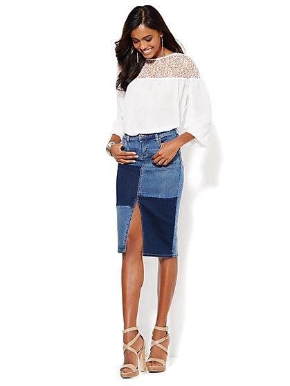 Soho Jeans Patchwork Pencil Skirt - Blue Mink Wash - New York & Company