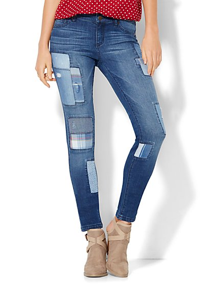 Soho Jeans - Patchwork Superstretch Legging - Indigo Blue Wash  - New York & Company