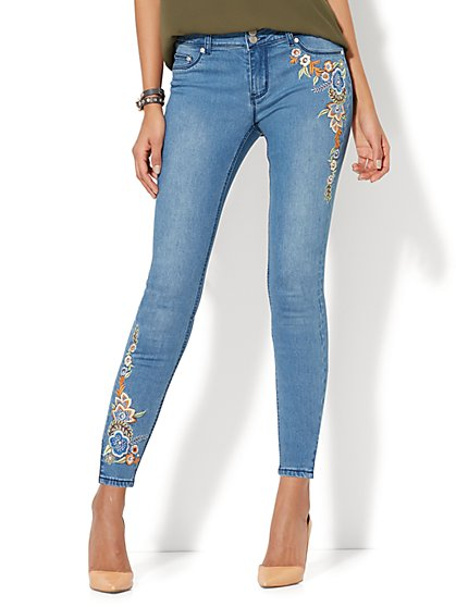 Soho Jeans - Rhinestone Accent & Embroidered Ankle Legging - Medium Blue Wash - New York & Company