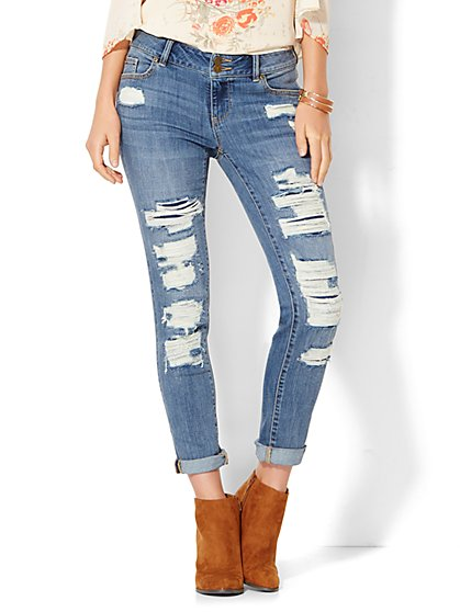 Soho Jeans - Rip & Repair Boyfriend - Dusty Blue Wash  - New York & Company