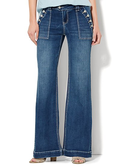 Soho Jeans - Sailor-Style Wide Leg - Indigo Blue Wash  - New York & Company