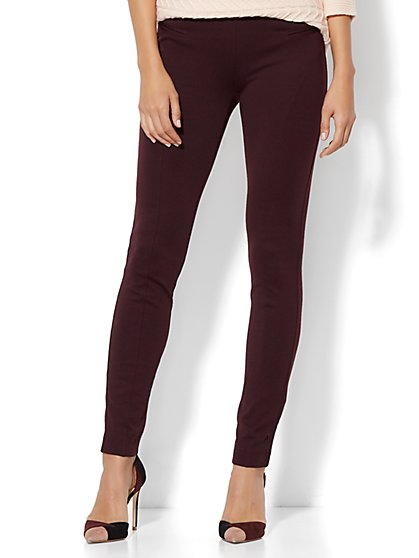 Soho Jeans - Seamed High-Waist Ponte Legging - Burgundy - New York & Company
