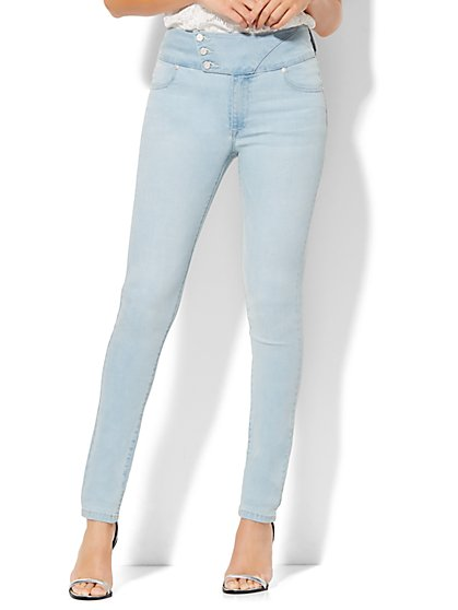 Soho Jeans - Stacked-Button High-Waist Legging - Blue Skies  - New York & Company