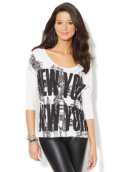 Soho Jeans Studded Graffiti Skyline Tee  - New York & Company