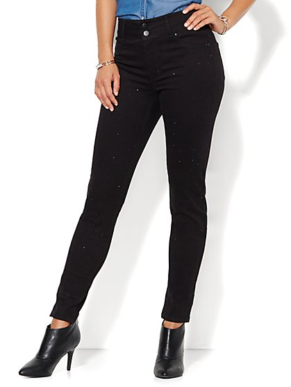 Soho Jeans - Studded High-Waist Legging - Black  - New York & Company