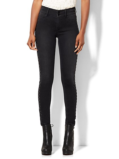 Soho Jeans - Studded High-Waist Superstretch Legging - Edgy Black Wash  - New York & Company