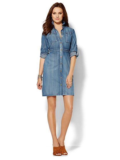 Soho Jeans - Super-Soft Chambray Shirtdress - Petite  - New York & Company