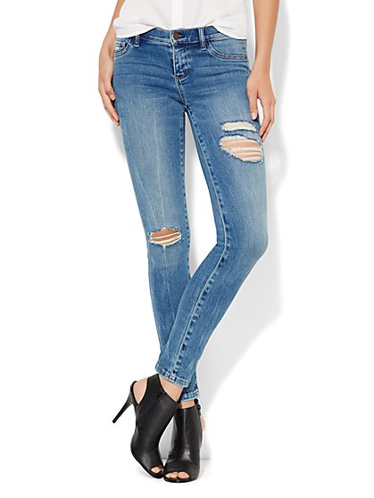 Soho Jeans - SuperStretch Destroyed Legging - Wild Blue Wash  - New York & Company
