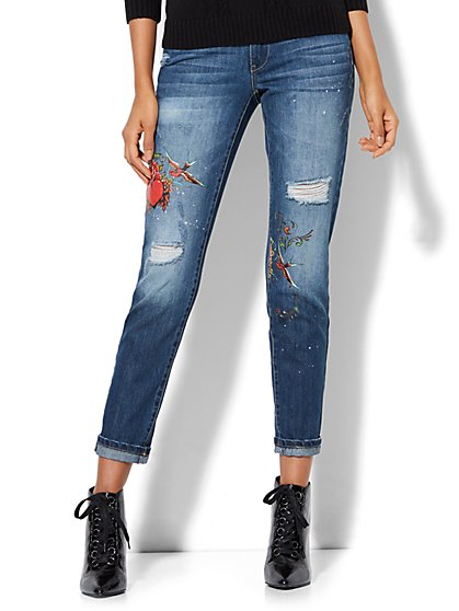 Soho Jeans - Tattooed Destroyed Boyfriend - Medium Blue Wash - New York & Company
