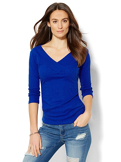 Soho Jeans - Textured-Knit Crossover Top  - New York & Company