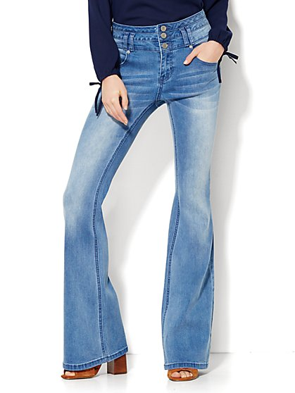 Soho Jeans - Triple Stack High-Waist Flare - Medium Blue  - New York & Company