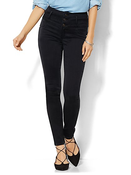 Soho Jeans - Triple Stack High-Waist Legging - Black  - New York & Company