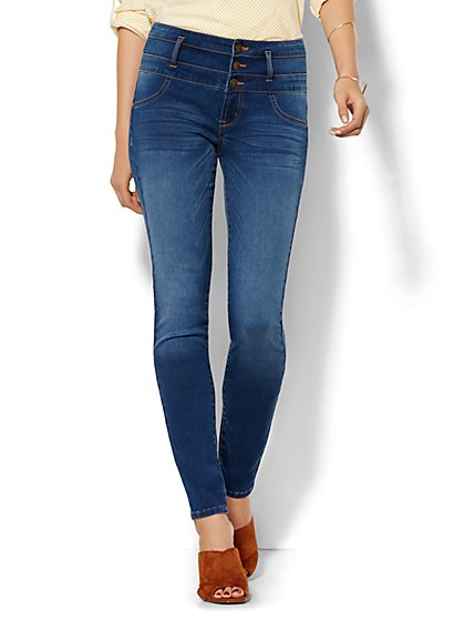 Soho Jeans - Triple Stack High-Waist Legging - Wild Blue Wash  - New York & Company
