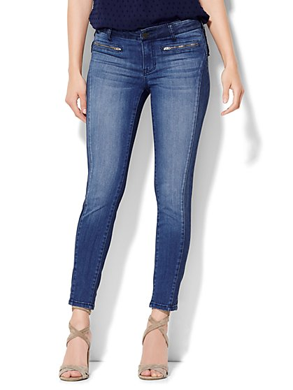 Soho Jeans Zip-Accent Ankle Legging - Theatrical Blue Wash  - New York & Company