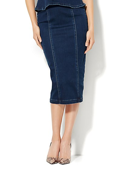 Soho Jeans Zip-Accent Denim Pencil Skirt - Stiletto Blue  - New York & Company