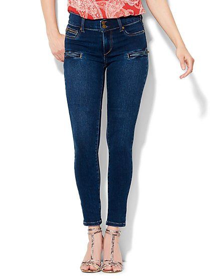 Soho Jeans Zip-Accent High-Waist Legging - Contour Blue Wash  - New York & Company