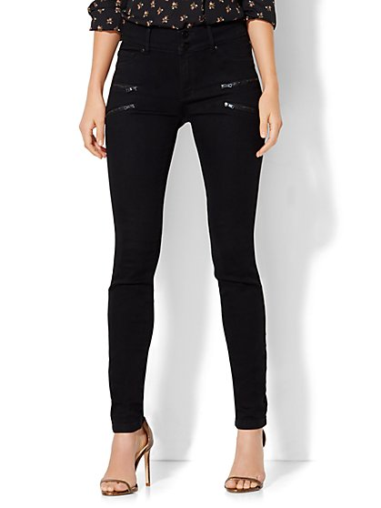 Soho Jeans - Zip-Accent High-Waist Superstretch Legging - Black  - New York & Company