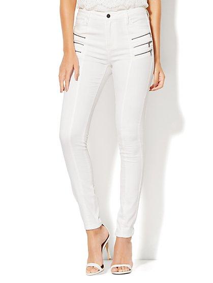 Soho Jeans - Zip-Accent Seamed High-Waist Curvy Legging - White  - New York & Company