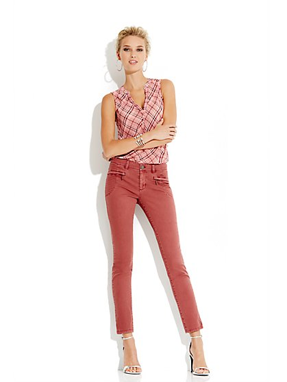Soho Jeans Zip-Front Ankle Legging - New York & Company