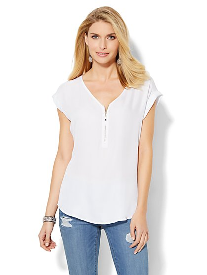 Soho Jeans - Zip-Front Blouse - Solid - New York & Company