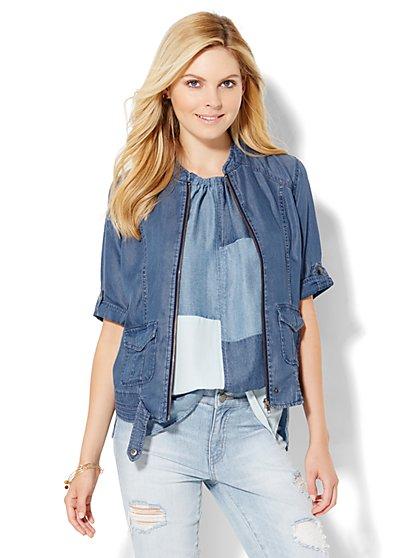 Soho Jeans - Zip-Front Jacket - Ultra-Soft Chambray - Medium Blue  - New York & Company