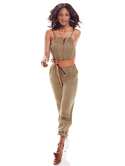 Soho Jeans - Zip-Front Jumpsuit - Union Square Green  - New York & Company