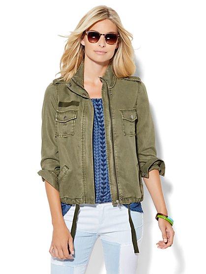 Soho Jeans - Zip-Front Mock-Neck Jacket - Union Square Green  - New York & Company