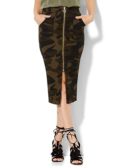 Soho Jeans Zip-Front Pencil Skirt - Camouflage Print  - New York & Company