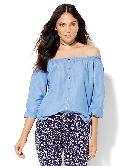 Soho Off-The-Shoulder Blouse - Light Indigo  - New York & Company