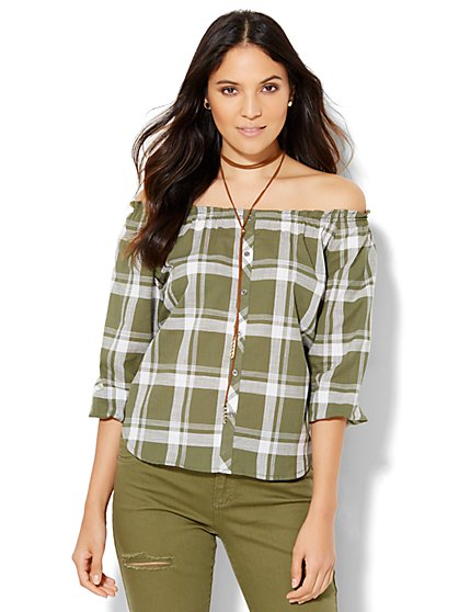 Soho Off-The-Shoulder Blouse - Olive Plaid  - New York & Company