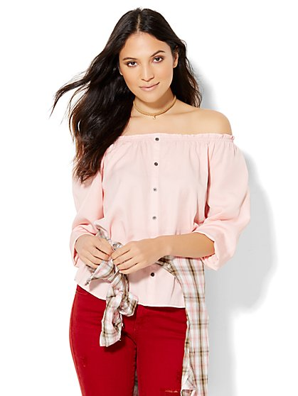 Soho Off-The-Shoulder Blouse - Pink Shell  - New York & Company