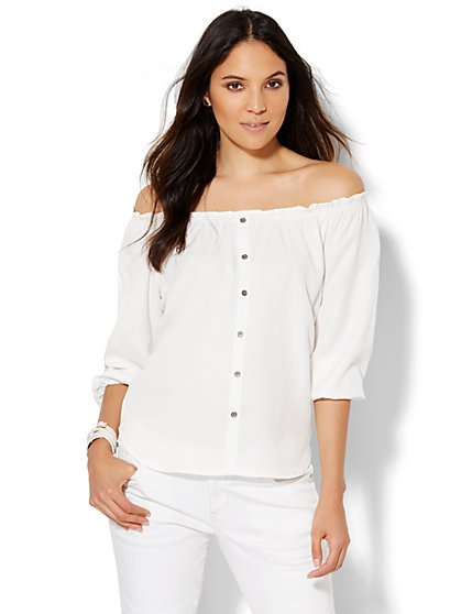 Soho Off-The-Shoulder Blouse - White  - New York & Company