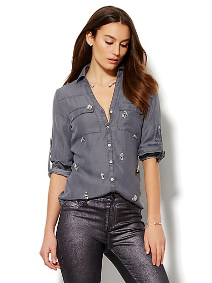 Soho Shirt - Embellished - Charcoal  - New York & Company