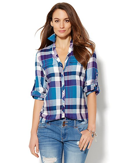 Soho Shirt - Metallic Plaid  - New York & Company