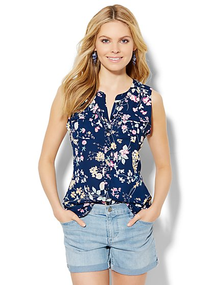 Soho Sleeveless Blouse - Floral  - New York & Company