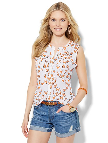 Soho Sleeveless Blouse - Fox Print  - New York & Company