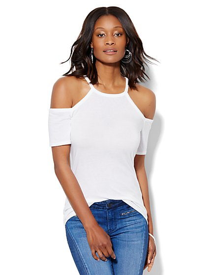 Soho Soft Cold-Shoulder Halter Tee - White  - New York & Company