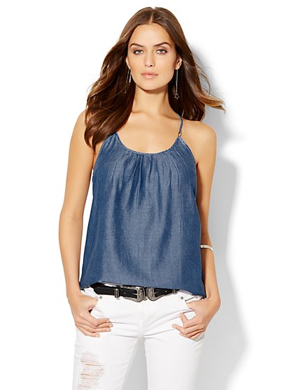 Soho Soft Halter Blouse - Ultra-Soft Chambray - Dark Marble Wash  - New York & Company