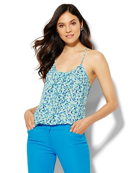 Soho Soft Pleated Halter Blouse - Floral  - New York & Company