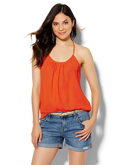 Soho Soft Pleated Halter Blouse - Polka-Dot Print  - New York & Company