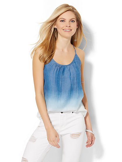Soho Soft Pleated Halter Blouse - Ultra-Soft Chambray - Dip-Dye Ombré - New York & Company