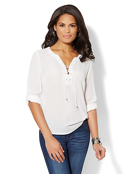 Soho Soft Popover Shirt - Lace-Up  - New York & Company