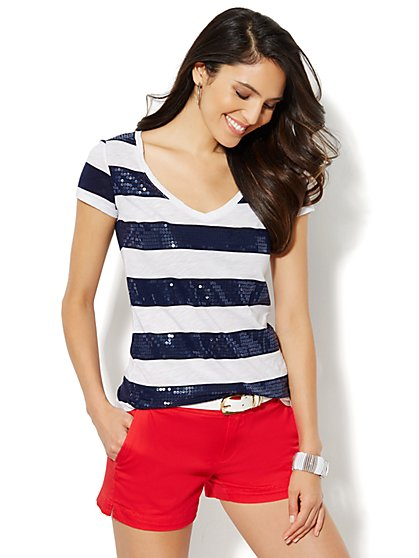 Soho Soft Sequin Stripe Tee  - New York & Company