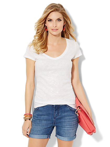 Soho Soft Sequin Tee  - New York & Company