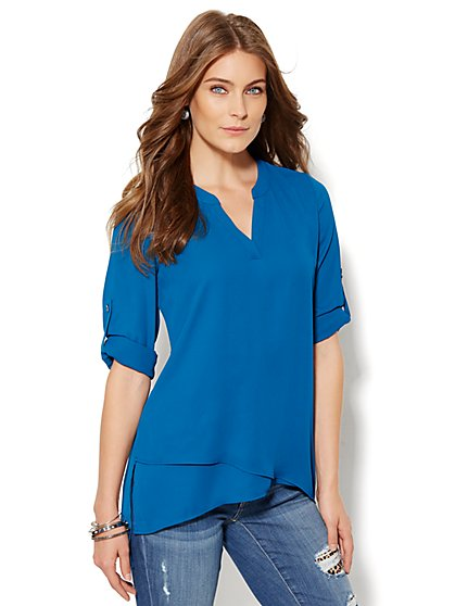 Soho Soft Shirt - Asymmetrical Tiered Tunic - New York & Company