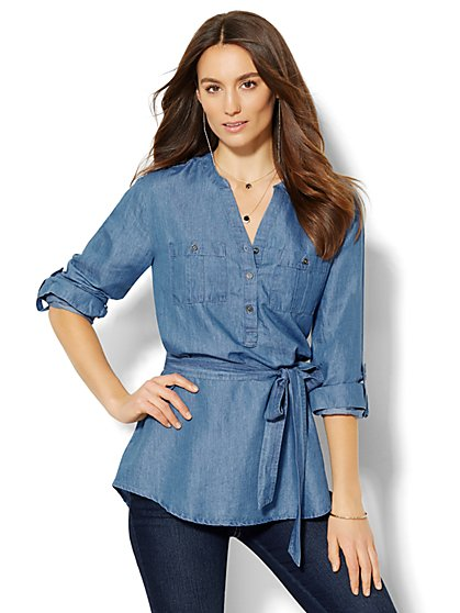 Soho Soft Shirt Belted Popover - Chambray - New York & Company