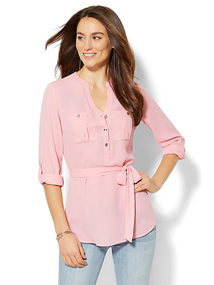 Soho Soft Shirt Belted Popover - Solid - New York & Company